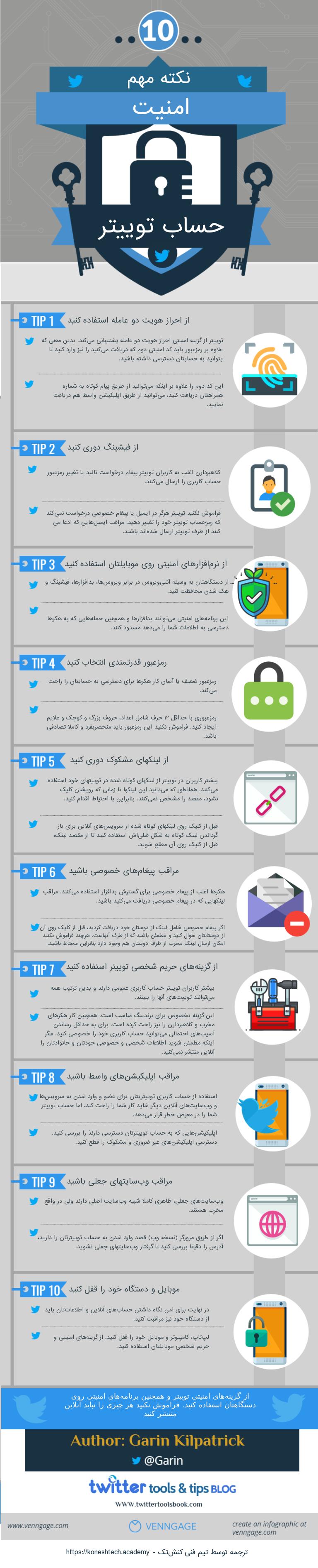 اینفوگرافیک ۱۰ نکته مهم امنیت حساب توییتر