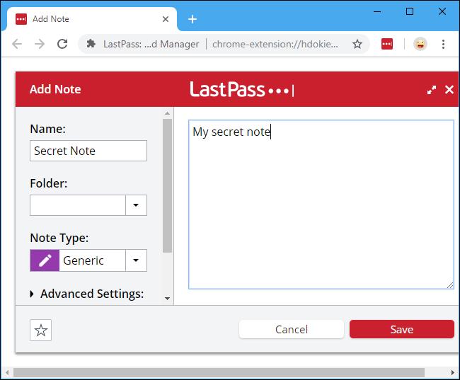 ذخیره نوشته در LastPass