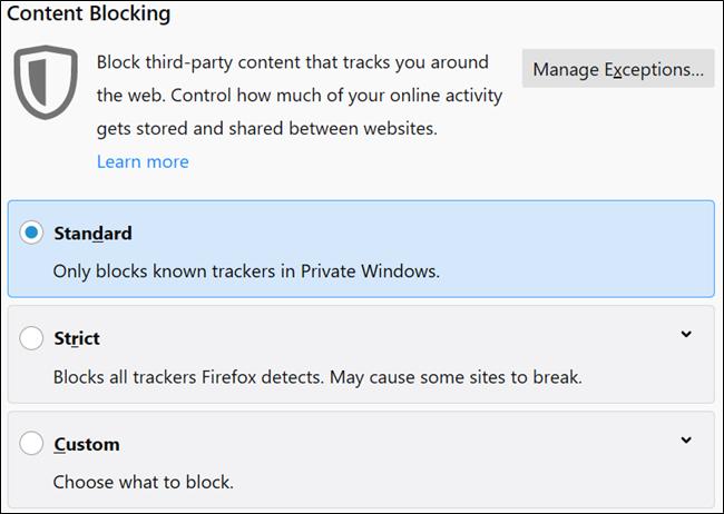 با استفاده از گزینه Content Blocking و بدون نصب افزونه روی فایرفاکس Trackerها را مسدود کنیم