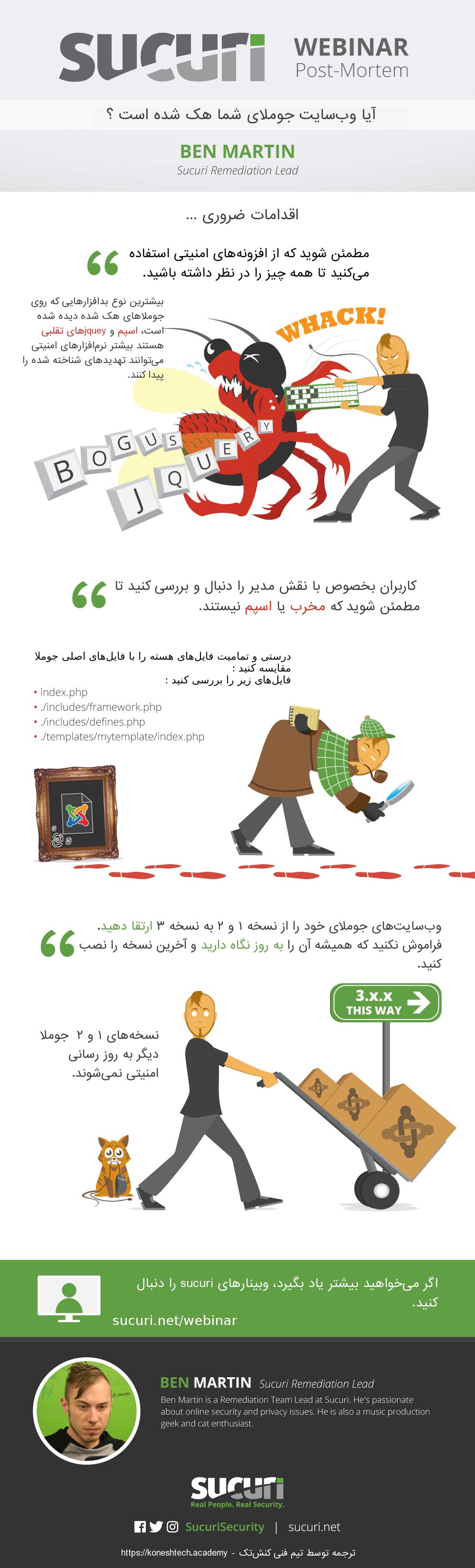 اینفوگرافیک اقدامات ضروری بعد از هک شدن وبسایت جوملا