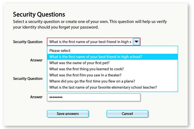 سوالهای امنیتی که در شبکههای اجتماعی پاسخ داده میشوند : نام اولین معلم مدرسه شما چیست؟
