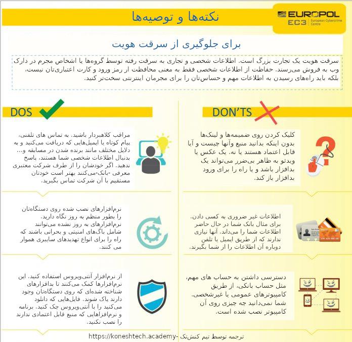 اینفوگرافیک نکتهها و توصیهها برای جلوگیری از سرقت هویت